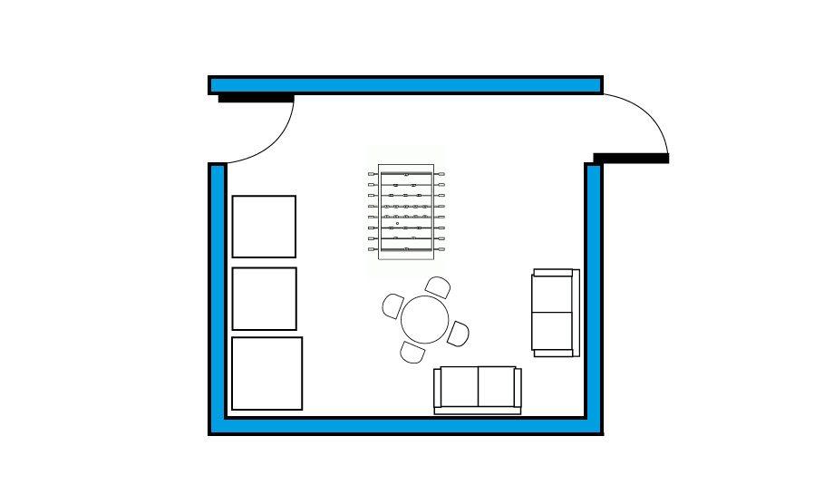 Plano de la zona de ocio de los locales de ensayo