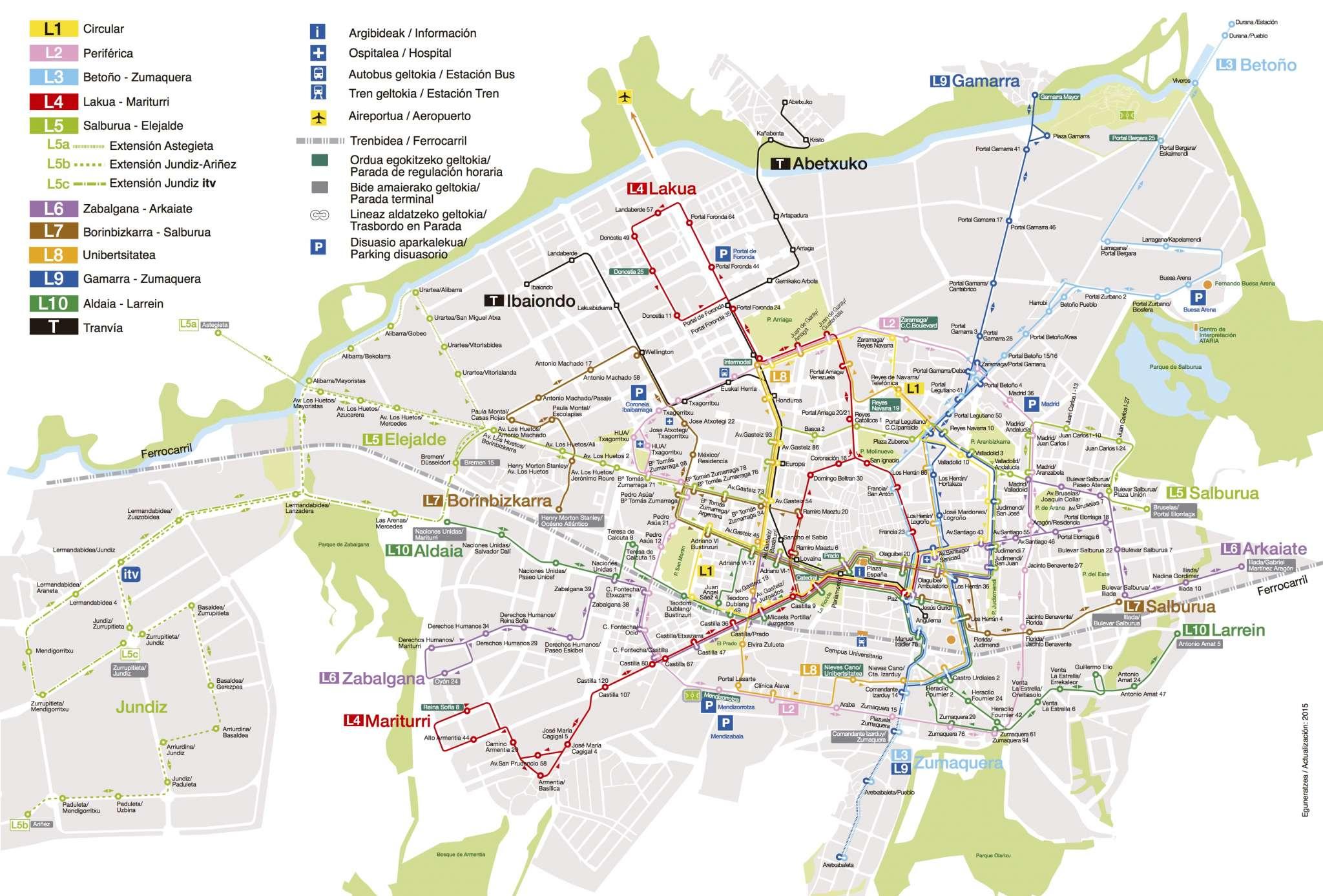 Plano de servicio de acceso en bus a los locales de ensayo