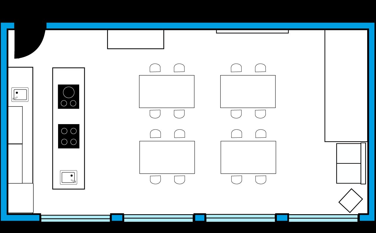 Plano del txoko en la introducción de los locales de ensayo